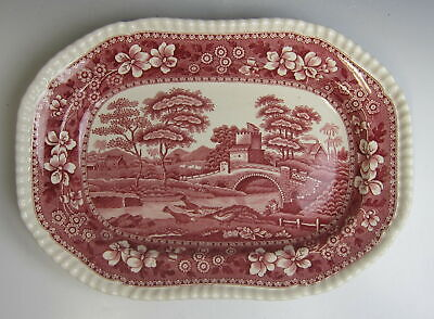 "Spode China TOWER PINK (OLD MARK) 10"" Oval Serving Platter EXCELLENT"