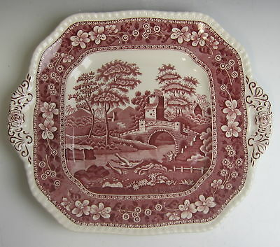 Spode China TOWER PINK (NEW MARK) Square Handled Cake Plate EXCELLENT