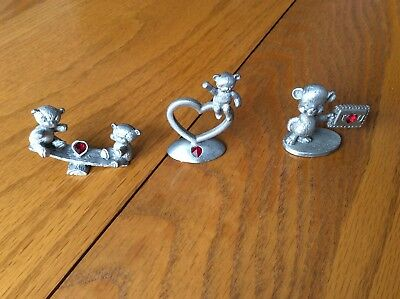 Three Vintage Pewter  Spoontiques With Red Gems