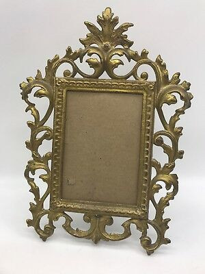Early 1900s Cast Iron N.B. MFG CO Art Nouveau Ornate Stand Up Picture Frame 2033