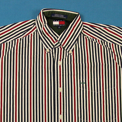 90s TOMMY HILFIGER Vintage Shirt ~ Men M │ Vertical Striped Button Oxford