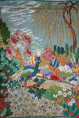 Exquisite Early Vintage Beautifully Hand Embroidered Picture/Panel.