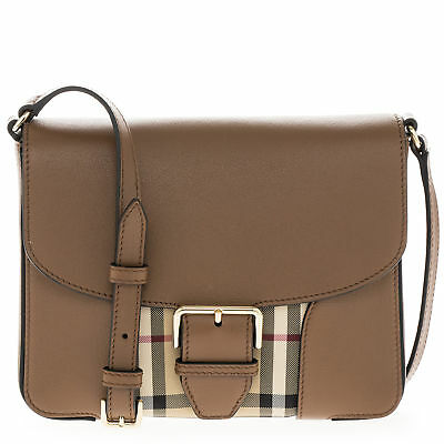 442fbdf3a871 Burberry Women s  Small Horseferry  Check and Leather Crossbody Bag Honey  Brown