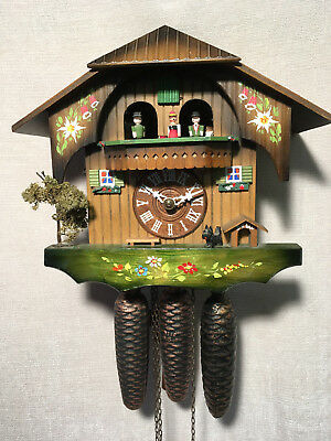 8 day Hubert Herr Black Forest Dual Tune Musical Mechanial Cuckoo Clock
