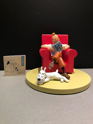 """Statuette Tintin Et Milou """"at Home"""" (Fauteuil) - Herge / Moulinsart - Neuf"""