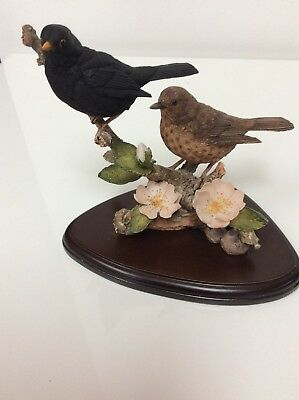 Country Artists Figurine, Pair Of Blackbirds With Dog Rose
