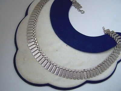 Vintage Ornate Textured Solid Sterling Silver Cleopatra Collar Link Necklace 15""