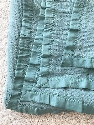 "Vintage King Size Acrylic Thermal Blanket Nylon Binding 90"" X 104"" SAGE GREEN"