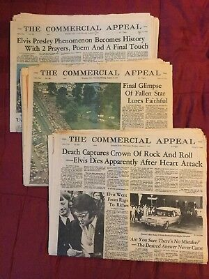 ELVIS PRESLEY DEATH -1977 -Three Memphis, Tennessee Commercial Appeal Newspapers
