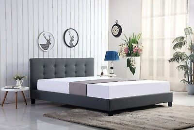 Designer buttoned grey or mink fabric bed - 4ft6, 5ft - Mattress options