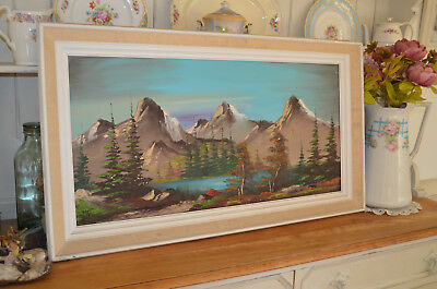 Large OIL PAINTING  Pretty Winter Lake Mountains Scene  Framed  - Signed 1960/70