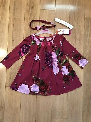 9608f45b8 TED BAKER GIRLS Off White Fairy Print Mock Dress With Tights Age 18 ...