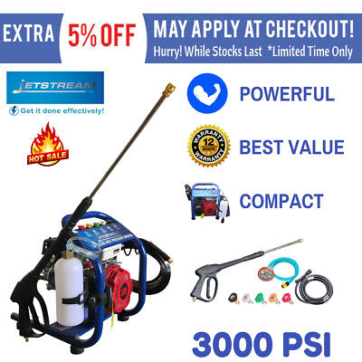 Pressure Washer 3000 PSI JetStream Pressure Cleaner Water 8M Hose