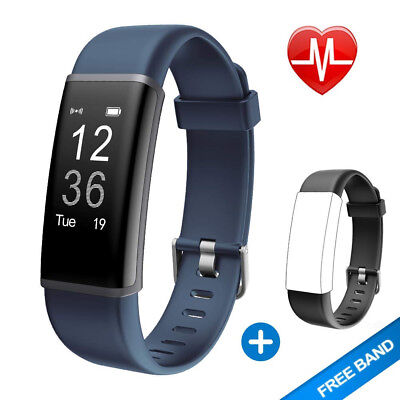(Grey + Replacement Band) - Lintelek Fitness Tracker, Customised Activity