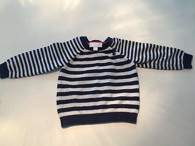 Striped Navy White Jumper Little White Company 6-9 Months