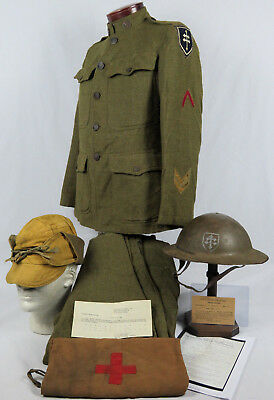 "NAMED WWI 79th ""LORRAINE CROSS"" DIVISION UNIFORM & INSIGNIA PAINTED HELMET GROUP"