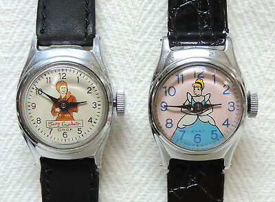 Pair of Vintage Davey Crockett & Cinderella Walt Disney Character Watches!
