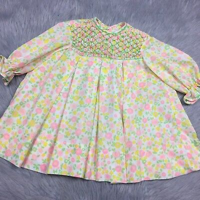 Vintage 1960s Toddler Girls Pink Yellow Green Floral Smocked Pleated Dress