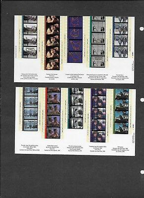 Canada Sc. 1615 and 1616 Cinema souvenir sheets, protective envelope and booklet