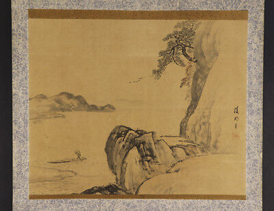 JAPANESE HANGING SCROLL ART Painting Scenery Asian antique  #E5156