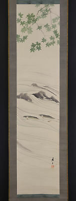 """JAPANESE HANGING SCROLL ART Painting """"Sweet fish"""" Asian antique  #E5180"""