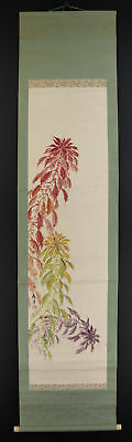 JAPANESE HANGING SCROLL ART Painting  Asian antique  #E5163