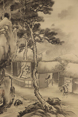 JAPANESE HANGING SCROLL ART Painting Scenery Asian antique  #E5170