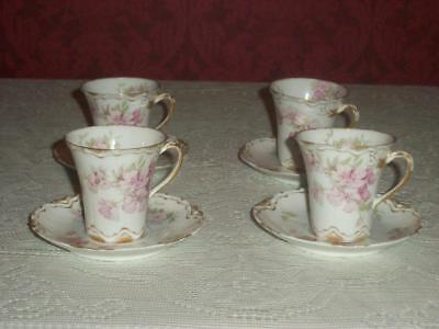 Haviland Limoges France Four Chocolate Cups and Saucers Pink Floral
