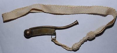 """Boatswain's Call Pipe - Bosun Whistle - Stamped """"By P. King"""" w Fabric Lanyard"""