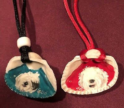 2 NEW Old English Sheepdog Unique Handpainted On Shell W/cords Pendant Necklaces