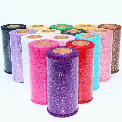 22 Metres Sparkle Glitter Sequin TUTU Fabric Tulle Net Ribbon Roll Wedding Party