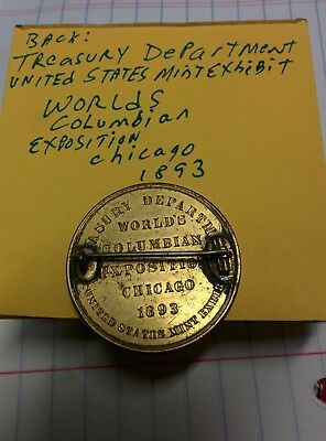1893 World's Columbian Expo Official Medal HK-154,US Mint Token pin back 120601