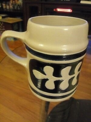 Williamsburg Pottery Large Gray Cobalt Blue Stoneware Mug Cup 4 1/2 Inches