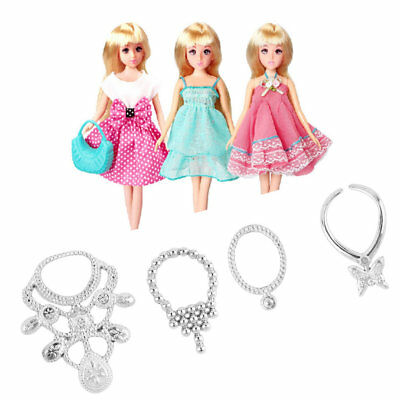 6pcs Fashion Plastic Chain Necklace For Barbie Doll Party Accessories 5N