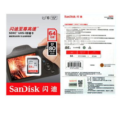 SanDisk 64GB Ultra SDXC SD Card Class 10 UHS-I Memory Card 80MB/S For Camera