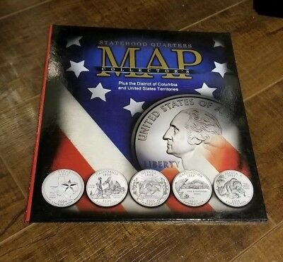 Whitman Complete 56 coin State & Territory Quarter Map Album Quarters