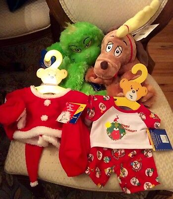 NWT 2012 Build A Bear Workshop Grinch Santa PJ's Outfit Sound Large Max the Dog