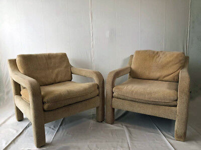 Pair of 1970s Mid Century Modern Milo Baughman Parsons Style Chairs