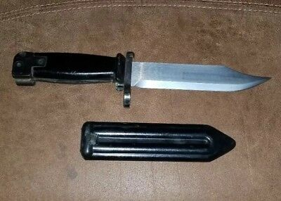 Vintage Russian Style Black Bayonet with Bakelite Handle and Sheath Unmarked