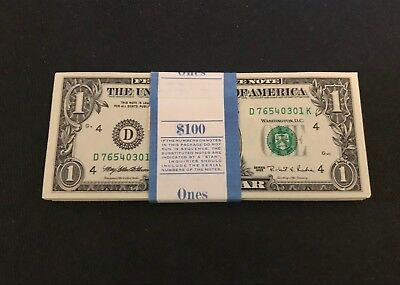 1995 $1 NEW One Dollar Bill Consecutive Uncirculated Crisp BEP Pack /Ladder Pack