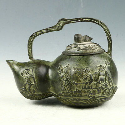 Exquisite Bronze Hand Carved Journey to the West Teapot AAA0073*