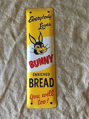 Vintage Everybody Loves Bunny Bread Painted Advertising Door Push Plate Sign