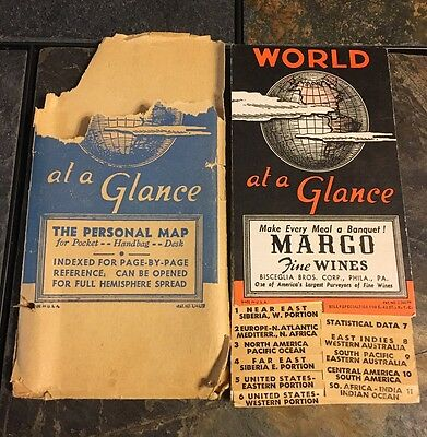 Vintage World at a Glance The Personal Map Atlas Pocket Map WWII 1930