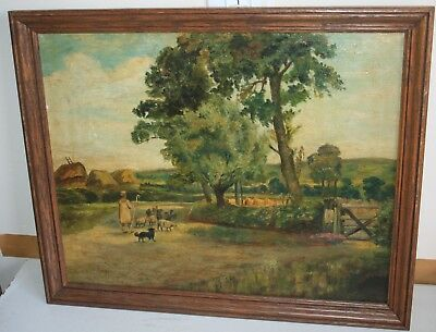 2 OF 2 Antique 19th Century Oil Painting on Canvas Landscape Shepherding