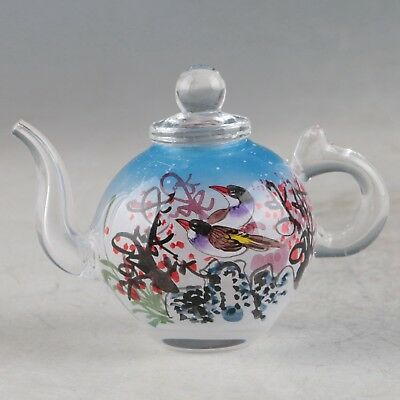 Exquisite Glass Hand Painted Plum & Magpie Teapot ZJ380
