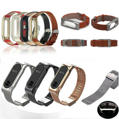 New For Xiaomi Mi Band 2 Mesh Stainless Steel/Leather Watch Band Strap Bracelet