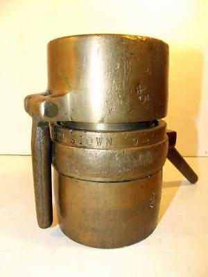 Vintage Rare Matched Pair Brass Supply Line Coupling Marked Hagerstown (MD) 1946