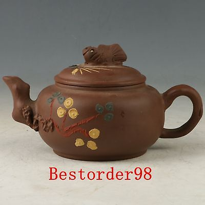 Chinese Yixing ZiSha Handwork Carved Teapot & Fish Lid CC0612