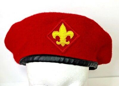 VTG Official Headwear BSA Boy Scouts Of America Red 100% Wool Beret Hat Large