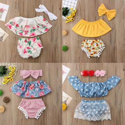 Lovely Newborn Infant Baby Girl Outfits Tops+ Pants+Headband Clothes 3PCS Set